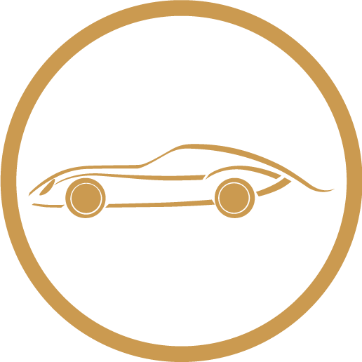 icon gold outline of car inside circle