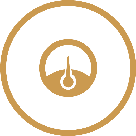 icon gold outline of dial in circle