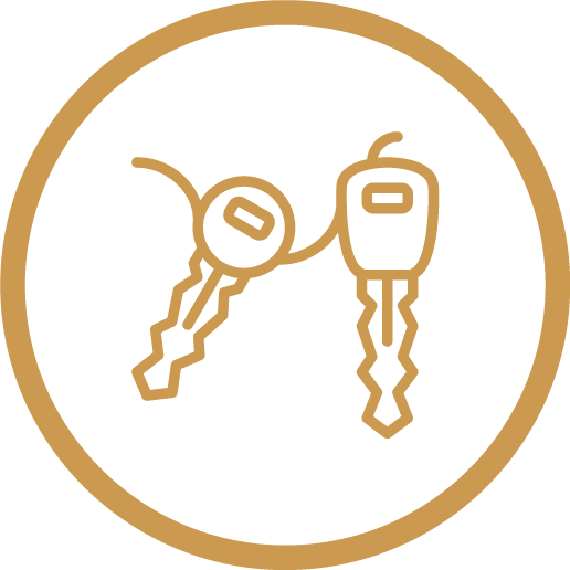 icon gold outline of keys in circle